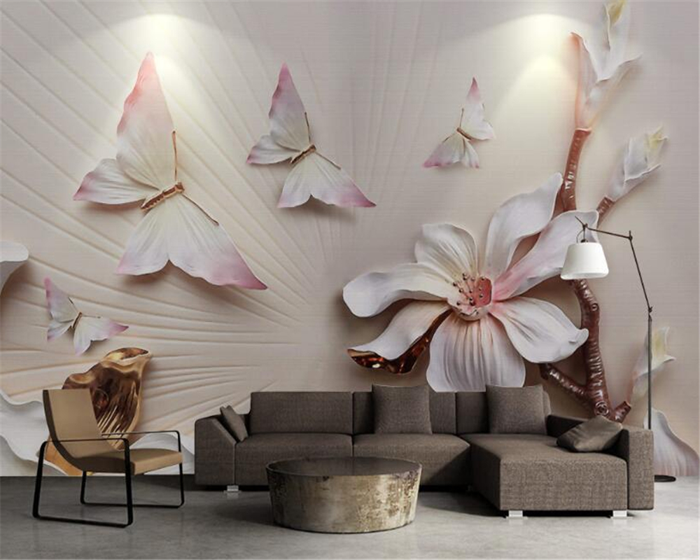 Beibehang 3D Wallpaper Stereo Fashion Simple and elegant magnolia colorful butterfly 3D relief murals wallpaper for walls 3 d beibehang fashion modern 3d relief