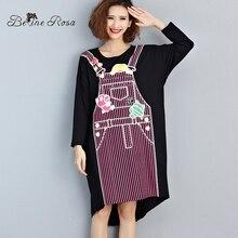 BelineRosa Plus Size Shirts Dress Women's False Tow-piece Character Cute Autumn Dresses Female Fit L~4XL XM0026