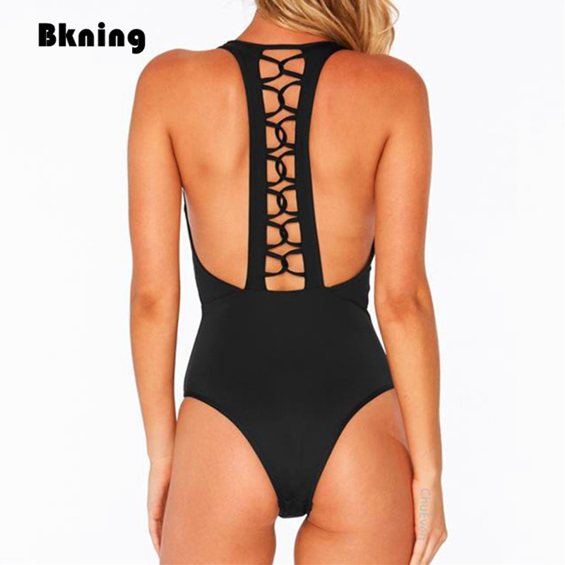 Bkning Sexy Backless Swimsuit One 1 Piece Swimwear Women Bathing Suit 2018 Indoor Swimsuits Solid Trikini Mayokini Monokini Swim