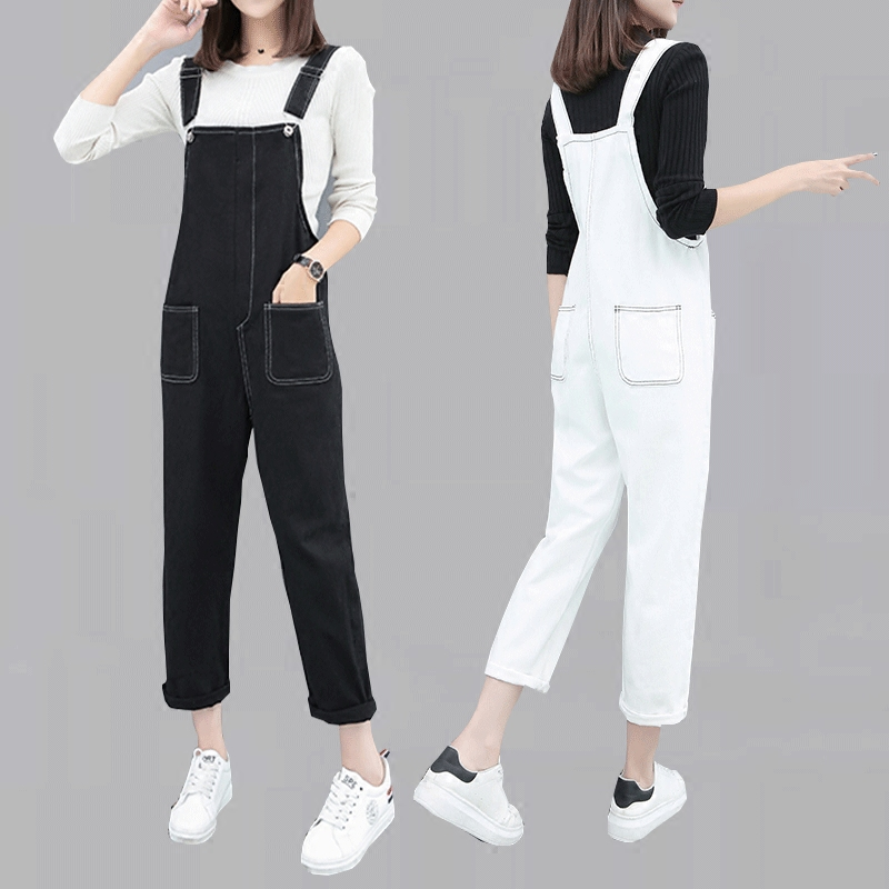 Women 2019 New Denim Trendy All-match Strap Trousers Daily Solid Simple Jumpsuit Korean Elegant Students Womens Rompers YH120