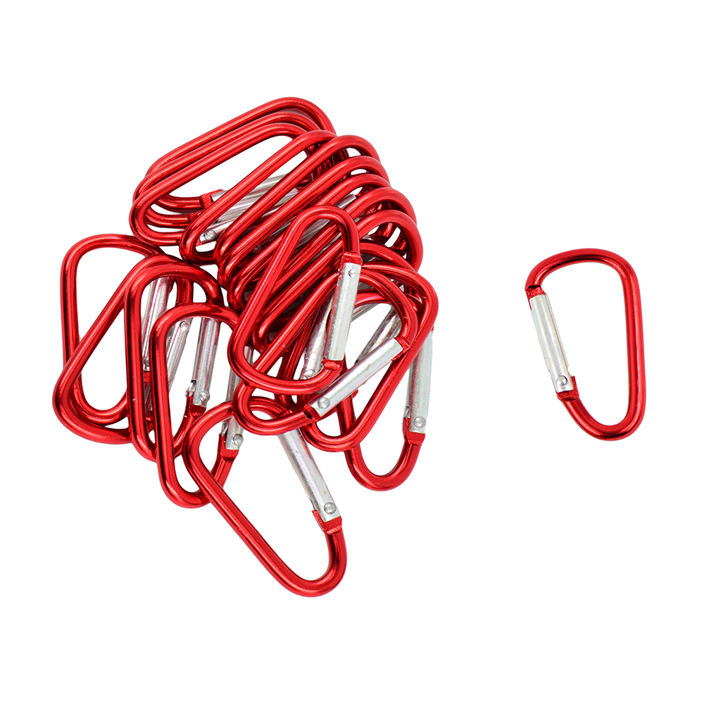 20pcs Outdoor Buckle Carabiner D-Ring Keychain Clip Snap Spring Hook Red