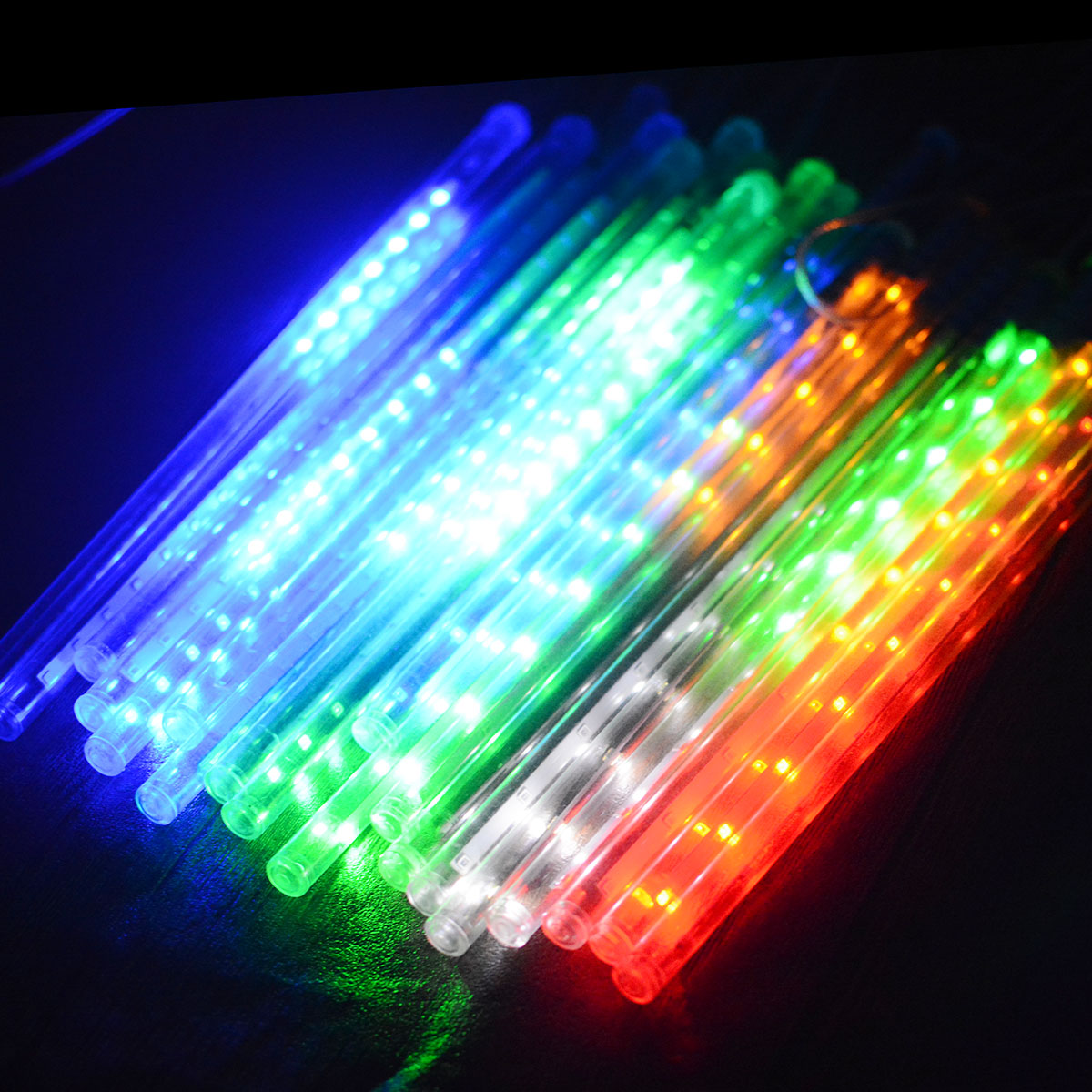 10Tubes LED 30cm Meteor Shower Solar Power Lamp Falling Rain Fairy String Lights Ultra Bright Drop Festival Decoration Light