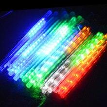 цена 10Tubes LED 30cm Meteor Shower Solar Power Lamp Falling Rain Fairy String Lights Ultra Bright Drop Festival Decoration Light онлайн в 2017 году