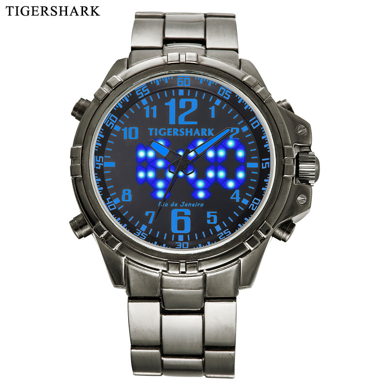 2020 top luxury brandFashion Sport Watch Men LED Digital Watches Dual Display Quartz Watch 30M Waterproof Blue Relogio Masculino