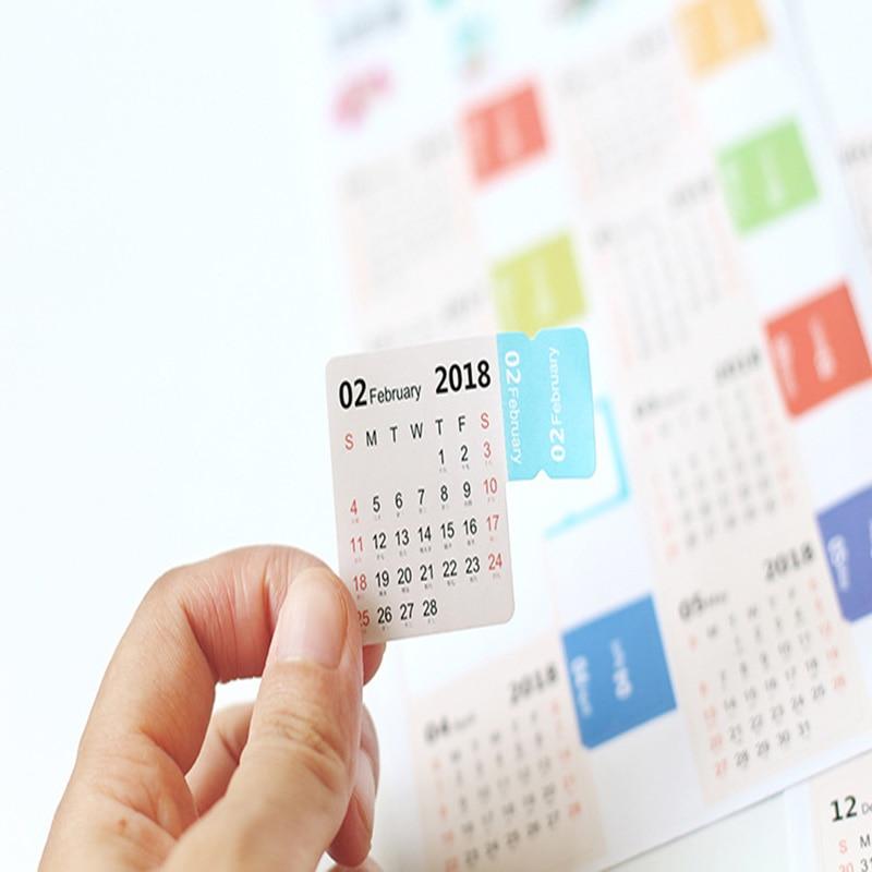 4 designs 2018 Calendar Sticker Notebook Index Monthly Category Sticker Planner Accessorie Slip Sheet New Year Cute Planner Tabs