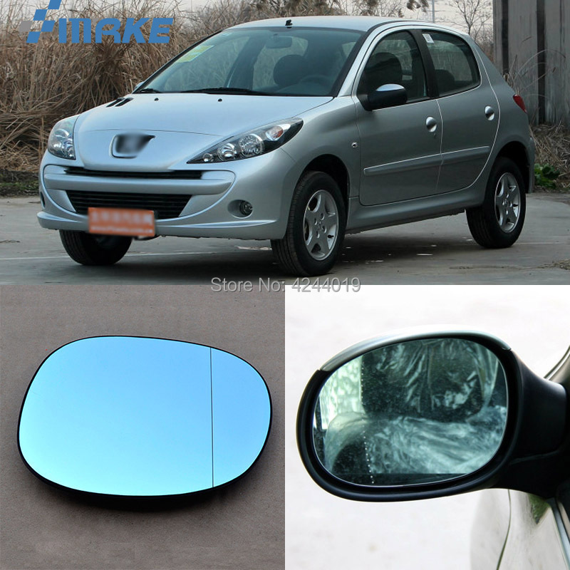 smRKE For Peugeot 206 207 Car Rearview Mirror Wide Angle Hyperbola Blue Mirror Arrow LED Turning Signal Lights