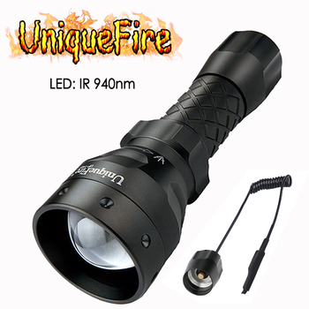 UniqueFire 1406 940nm IR LED Flashlight Infrared Light Night Vision Lantern Zoom Torch with Rat Tail For Outdoor Hunting