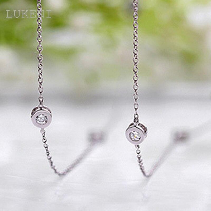 LUKENI White Cubic Zircon Pendant Long Necklace 18KGP White CZ Women's Charm Sweater Chain Free Shipping