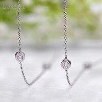 Wholesale White Cubic Zircon Diamond Pendant Long Necklace 18KGP White Gold Plated Women S Charm Sweater
