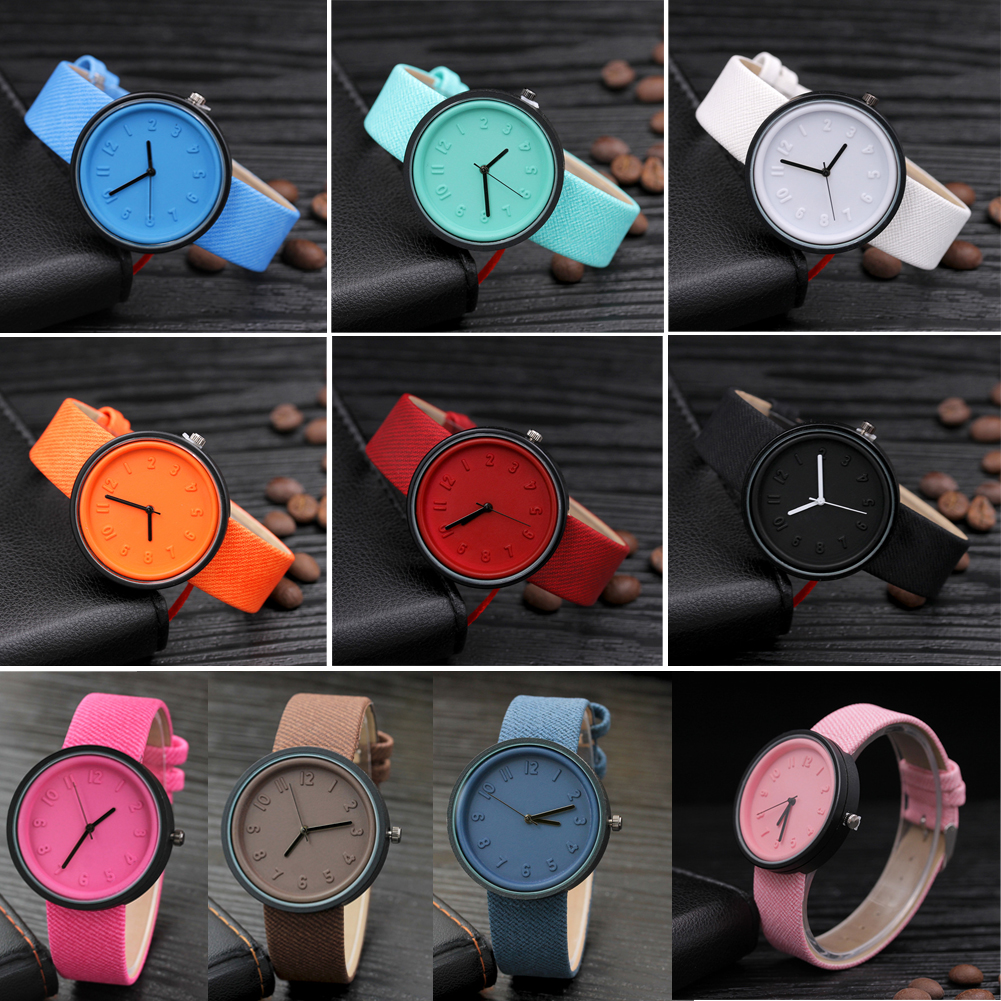 Women Dress Wrist Watch Unisex Ladies Casual Fashion Number Watch Quartz Canvas Belt Female Students Girls Clock 1