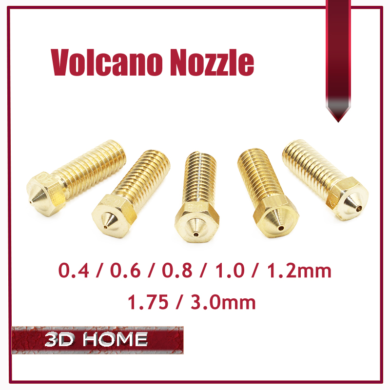 5Pcs/lot New Volcano 3D printer All metal brass E3D Lengthen extruder nozzle 0.4/0.6/0.8/1.0/1.2mm For 1.75/3mm supplies цена
