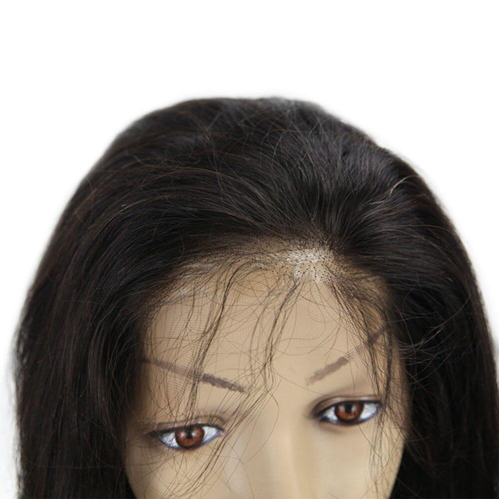 Brilho completo ondulado glueless peruca cor preta