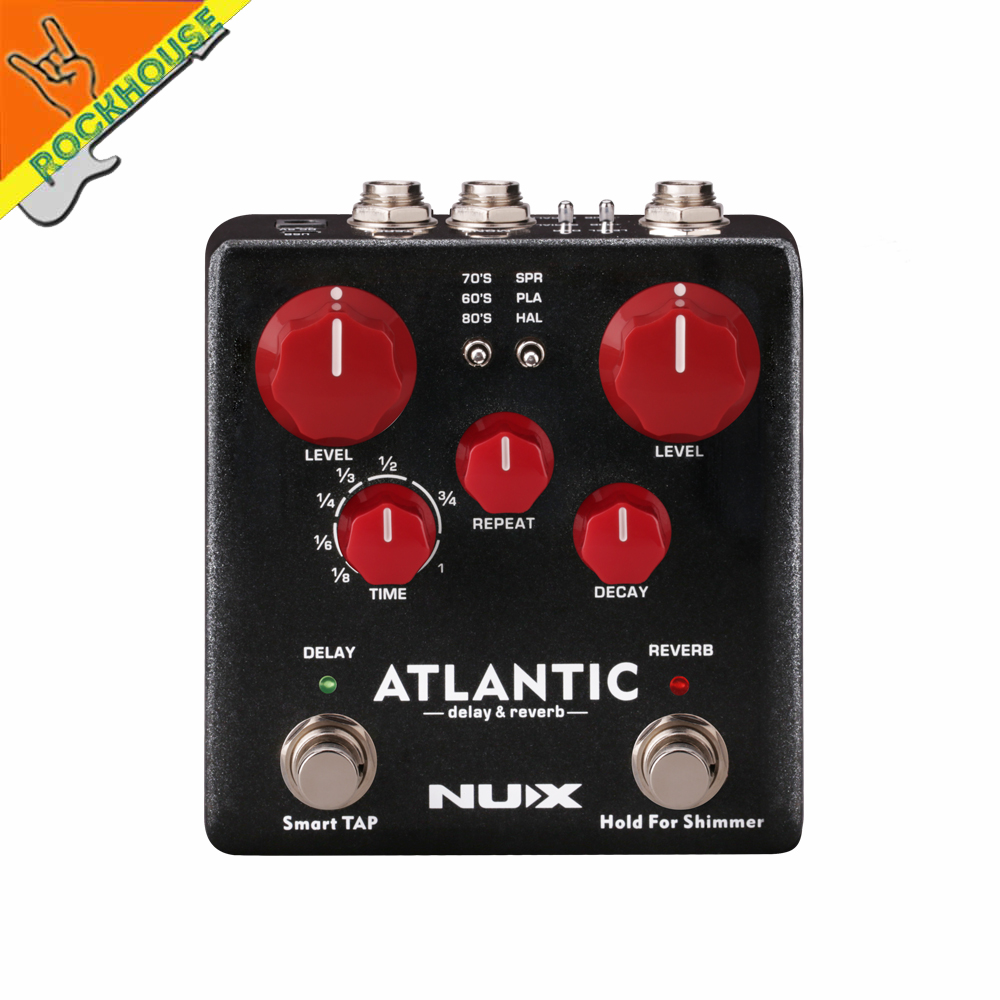 nux atlantic multiple delay and reverb guitar effects pedal with tape analog digital delay and. Black Bedroom Furniture Sets. Home Design Ideas