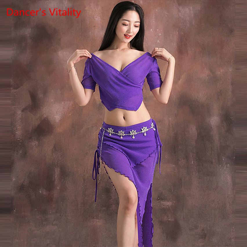 New Summer Belly Dance Size Dance Fash Water Garn Suit Costumes Oriental Dance Performance Set Top+Skirt 2pcs
