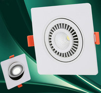 Free Shipping COB 10W Square Dimmable Led Ceiling Down Light Recessed Led Lamp 360 Degree Rotation