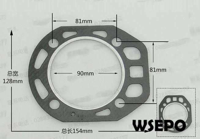 OEM Quality! 90mm bore size Cylinder Packing/Head Gasket for R180 8HP 4 Stroke Small Water Cooled Diesel Engine