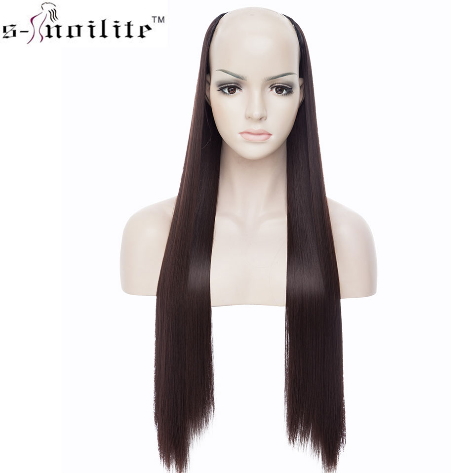 SNOILITE 26inch Long Straight Hair Extension Synthetic 4 Clip Ins One Piece Extension Hair Women Fake Hair Half Wig Black Brown