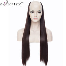 SNOILITE 26inch long straight hair extension synthetic 4 clip ins one piece extension hair women Fake Hair half Wig Black Brown(China)
