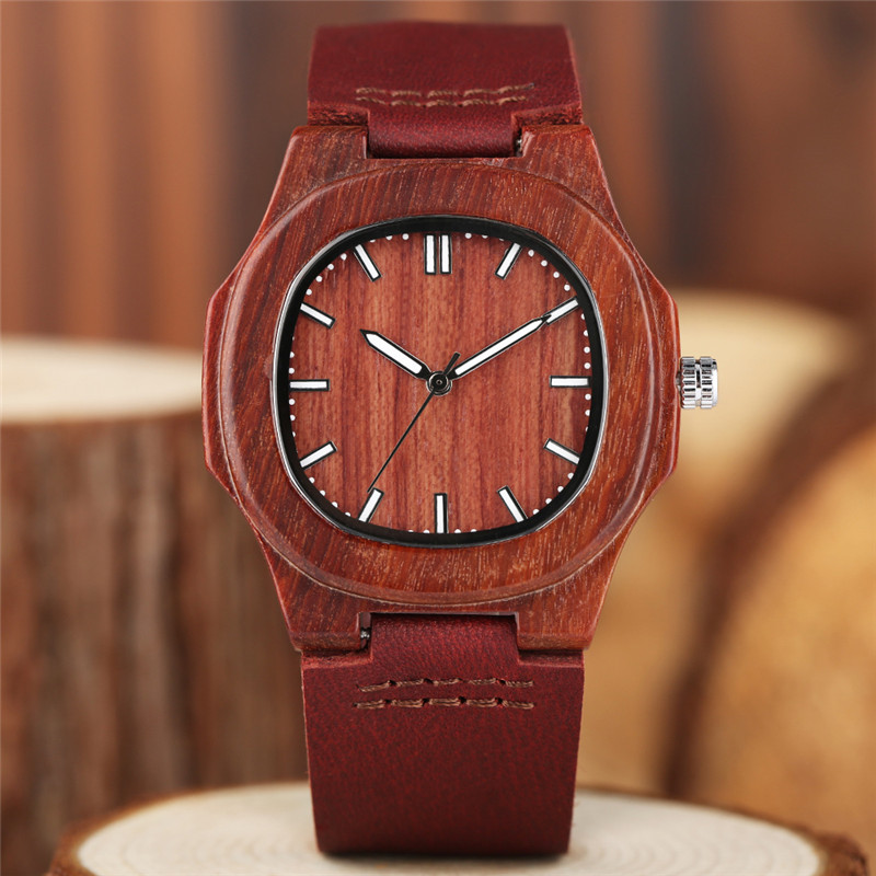 Image 3 - 2020 New arrivals Wood Watch Natural Light Wooden Face Fashion Genuine Leather Bangle Unisex Gifts for Men Women Reloj de maderagifts for mengift giftsgifts for women -