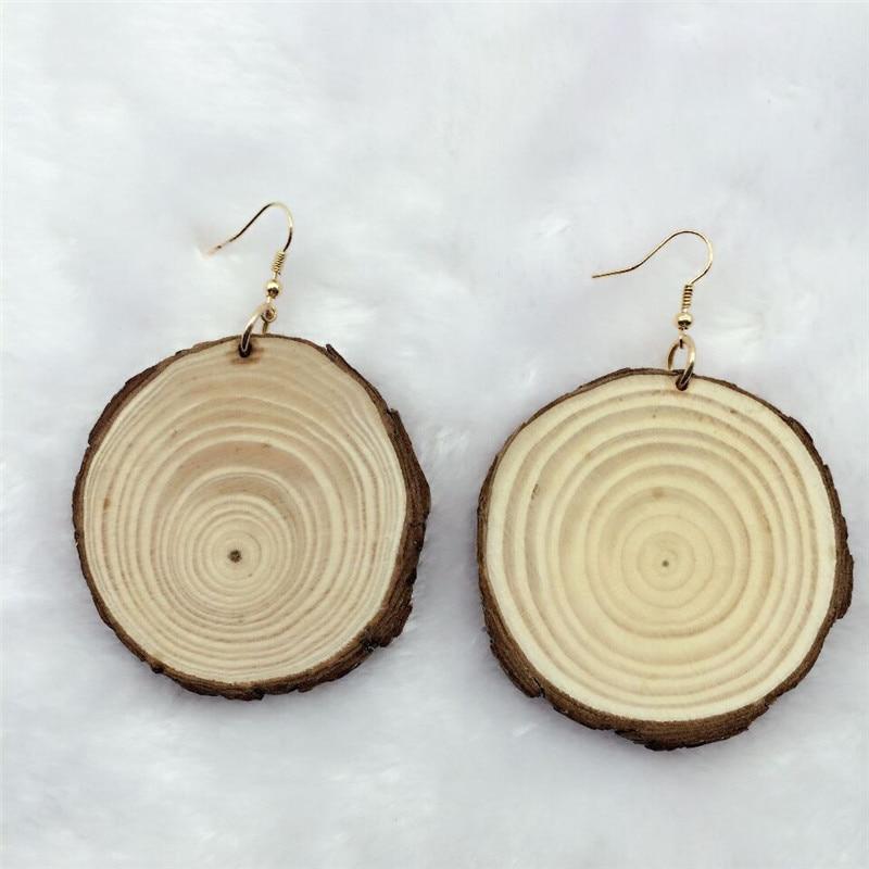 Big Handmade Natural African Red Wood Tree Boucles d/'oreilles Bijoux
