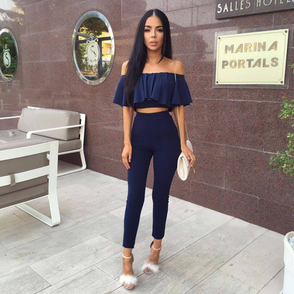 Female Overalls Playsuit Romper   Jumpsuit   Rompers Womens   Jumpsuit   Off Shoulder 2 Pc Set Long Slim Ruffles Bodycon Macacao F0265