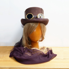 Steam Punk Steampunk Top Hat ,   Women Victorian Vintage  Wool Gear Fedoras hat Millinery Goggles Hand Made + FREE SHIPPING