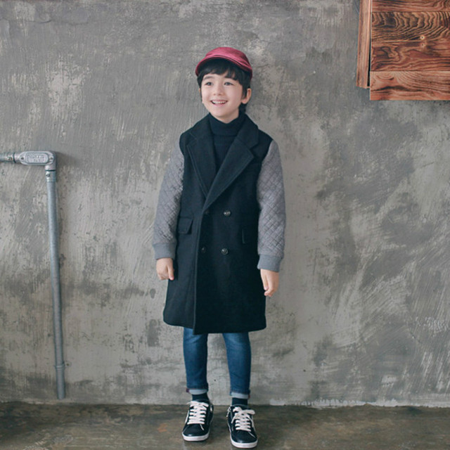 New fashion winter children's clothing color matching cloth long suit collar with thick coat Kids jacket boys coat Wool Blends