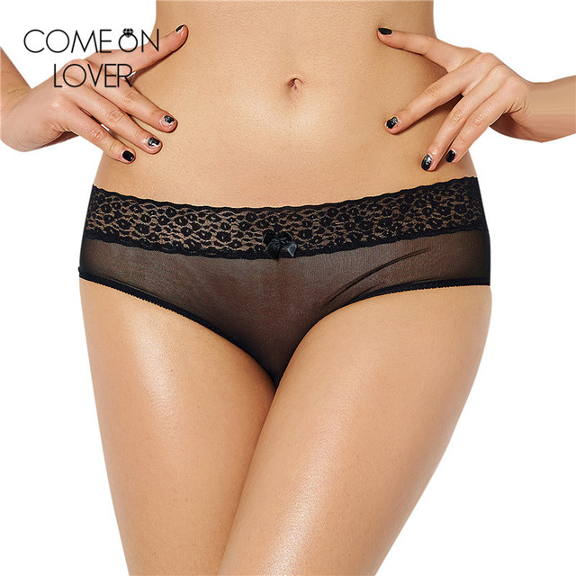 PL5063 Lace transparent mesh crotchless sex panties with bow