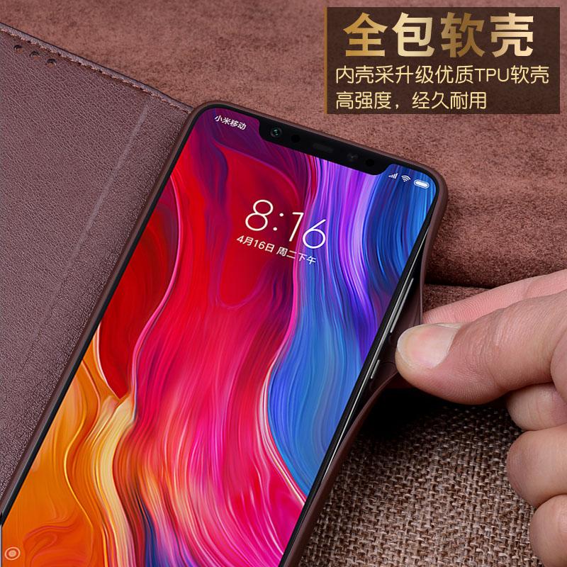 Pour Xiao mi mi 8 etui mi 8 SE housse Flip luxe véritable cuir de vachette souple Silicone TPU téléphone Capa coque pour xiaomi mi 8 M8 SE - 4