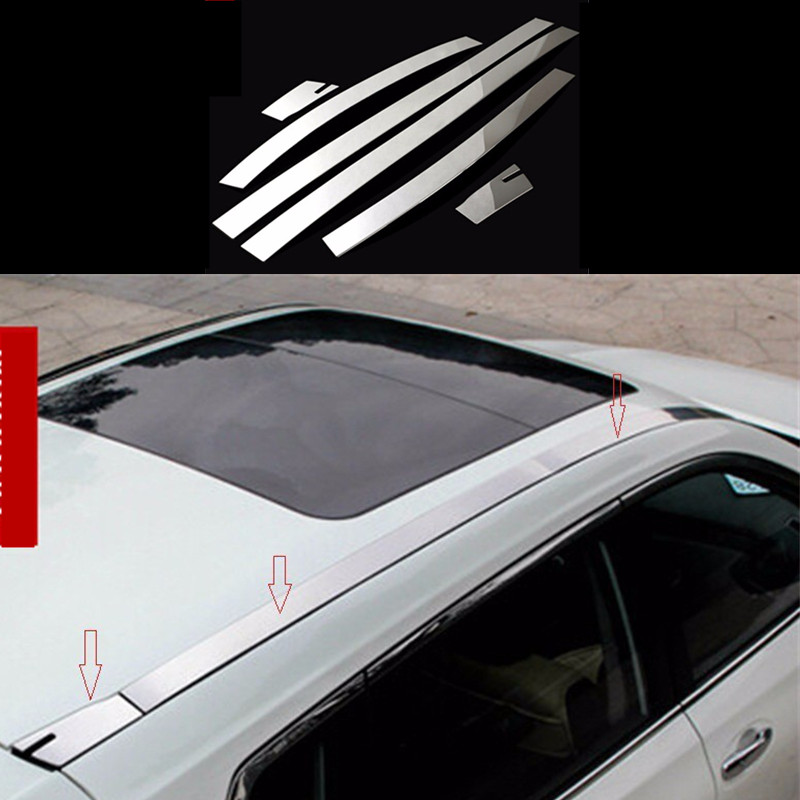 Car Roof Decoration Trim Car Styling Auto Accessories  Stainless Steel For Nissan X-Trail Rogue 2014 2015 6Pcs Per Set