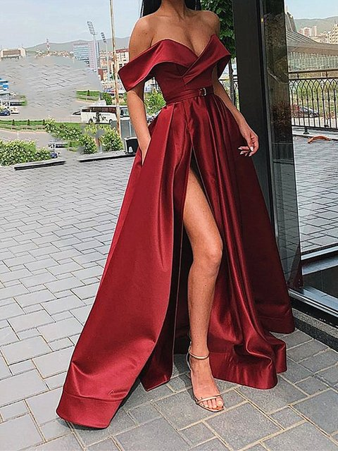 Sexy Off The Shoulder Evening Party Gown Satin Sexy Prom Dress