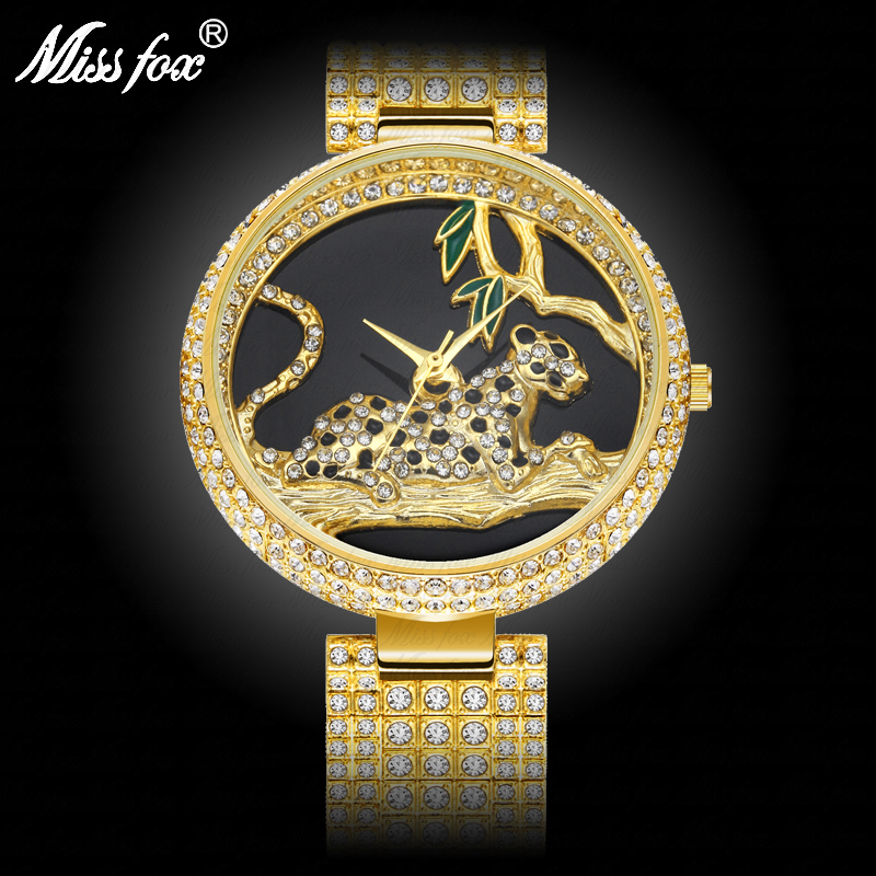 MISSFOX Black Elegant Leopard In Tree Mk Stainless Steel Import Japan Movt Analog Fashion Gold Women Watches Quartz Golden Clock