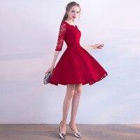 Hot Sale Vestido De Fiesta De Coctel Corto Burgundy Lace Prom Gowns Half Sleeves Scoop Neck 2019 Short Cocktail Party Dresses