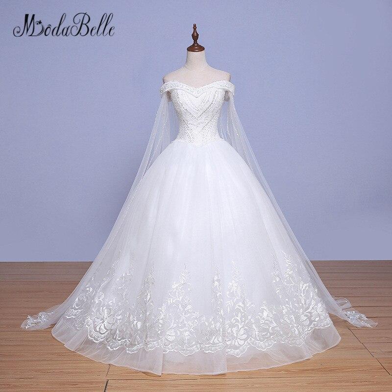 Modabelle Trouwjurk 2018 robes de mariée en dentelle robe de mariée avec longue Cape Applique perlée chérie princesse mariée robe de mariée