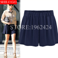 Plus size 2017 summer fashion women high quality comfort loose milk silk Modal elastic belt pocket leisure high waist shorts 5XL