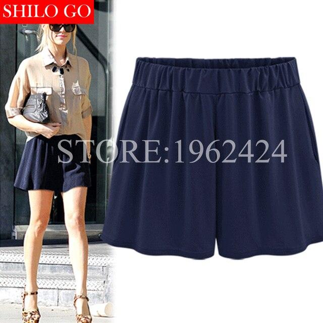 Plus size 2017 summer fashion women high quality comfort loose milk silk Modal elastic belt pocket leisure high waist shorts 5XL