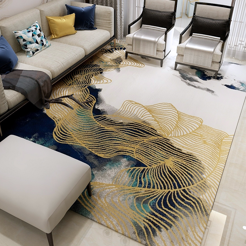 Gold Line Carpets For Living Room Thick Polypropylene Bedroom Carpet Sofa Coffee Table Rug Luxurious Study Floor Mat Kids Rugs
