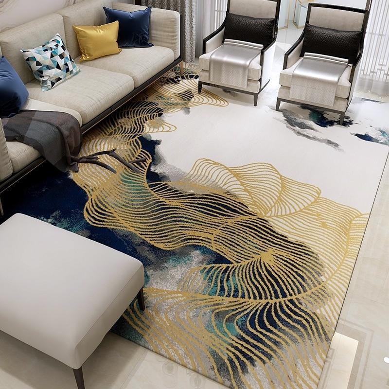 Gold line carpets for living room thick polypropylene - Gold rug for living room ...