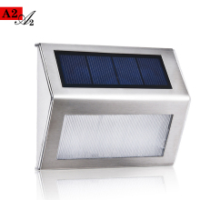 A2 Solar outdoor stair Lighting lamps Wall  Garden landscape  night light Street Yard Stainless steel+pc