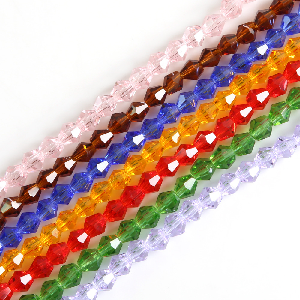 50//100Pcs Faceted Glass Crystal Oval Solid Bicone Spacer Beads Finding 6mm Hot