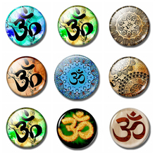 Yoga Sign Series Fridge Magnet Meditation Om 30 MM Glass Cabochon Refrigerator Magnetic Holder Home Decoration Accessories