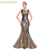 Kate Kasin Mermaid Bridesmaid Dresses Long Dress For Weddings Party Gown 2016 Grey Blue Black Sequin