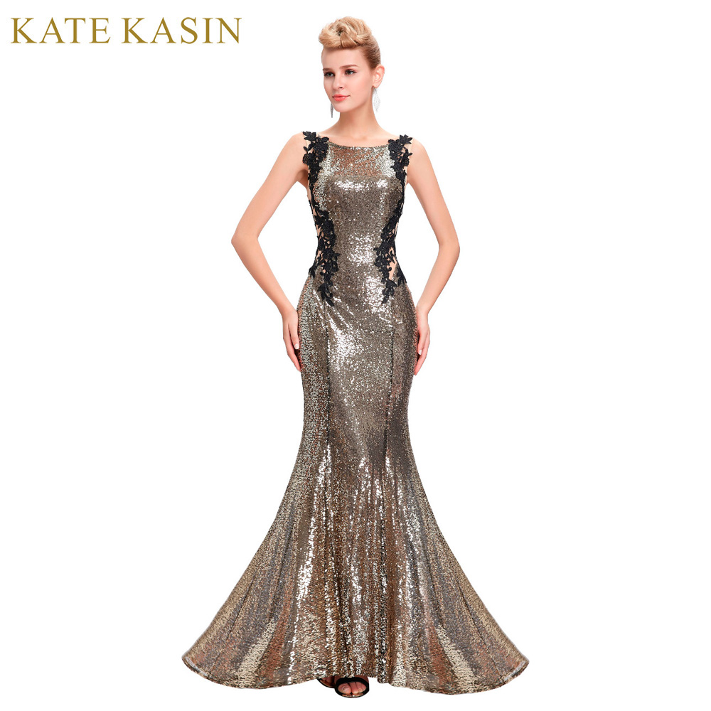 Kate Kasin Mermaid Bridesmaid Dresses Long Dress for Weddings Party Gown 2017 Grey Blue Black Sequin