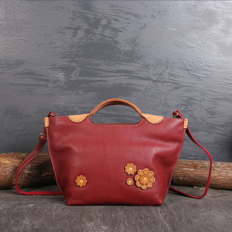 Genuine Leather Women Handbags Tote Bolsa Feminina Cowhide Flowers Crossbody Bags Messenger Bag sac a main chispaulo 2017 women genuine leather handbags cowhide women s messenger shoulder bags crossbody bolsa femininas tassel new c137
