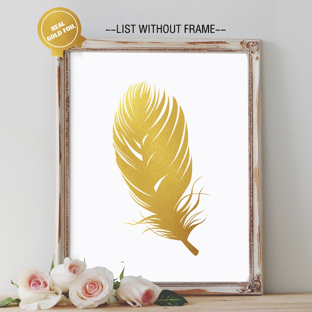 Finest Beautiful Feathers Gold Foil Art Paper Modren Wall Art for Golden  DU46
