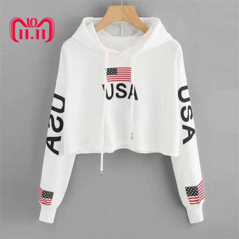 Feitong Women Casual Crop Top Hoodies Sweatshirt Drop Shoulder American Flag Print Hooded Tops Sweatshirts sudaderas mujer 2019