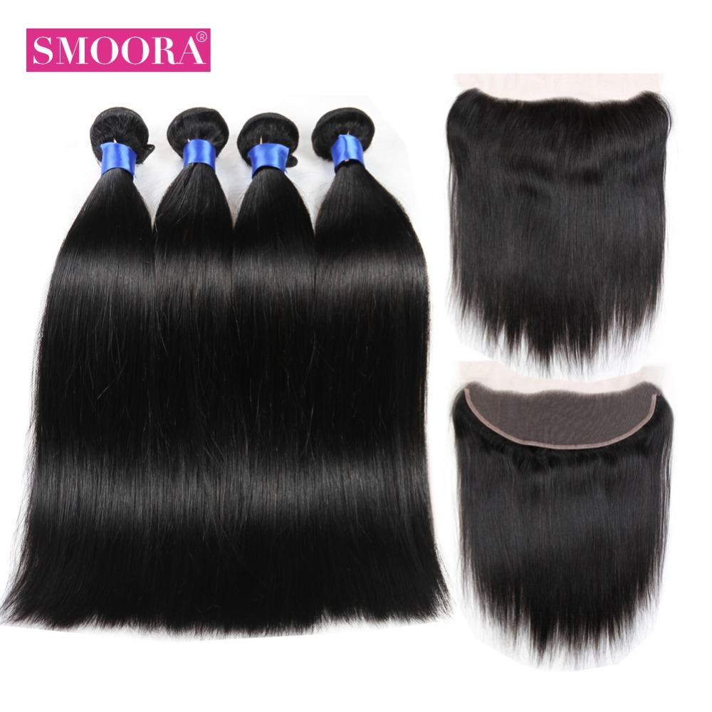 SMOORA Peruvian Straight Hair 13*4 Lace Frontal Closure With Bundles NonRemy Human Hair Extension 4 Bundles With Frontal Closure