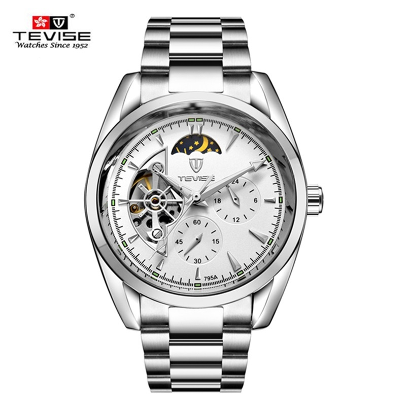 все цены на TEVISE Classic Tourbillon Men Watches Automatic Mechanical Wristwatches Mens Stainless Steel Watch Male Clock relogio masculino