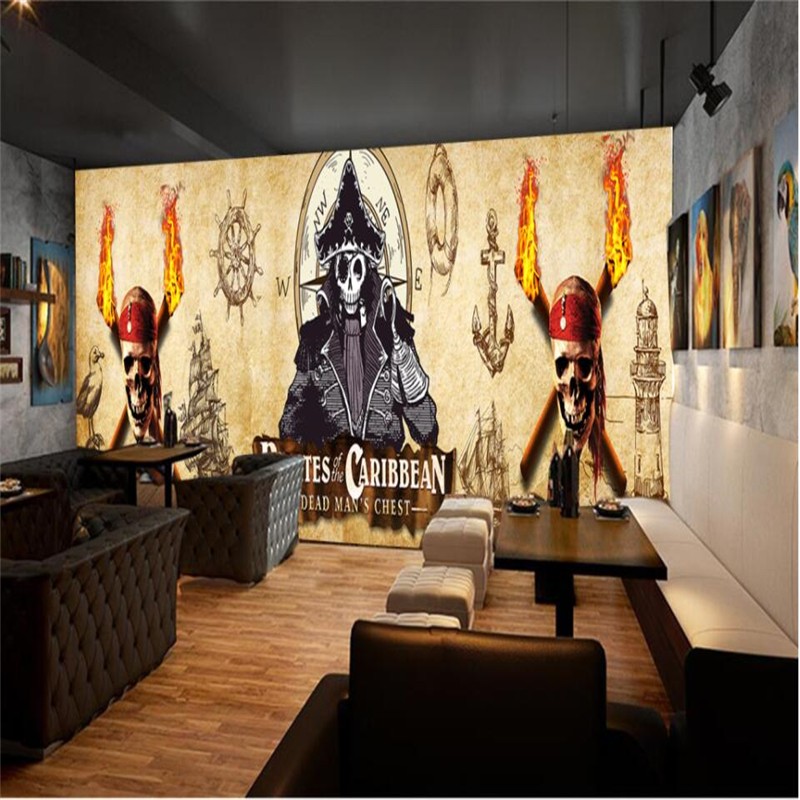 beibehang Europe and the United States retro pirate ship bar cafe ...