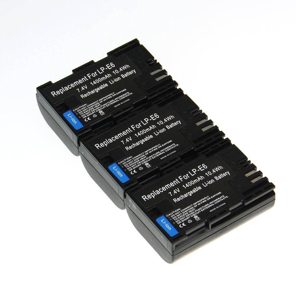 Hot Sale 3pcs Battery LP E6 LP E6 LPE6 Rechargeable Camera Battery For Canon 6D 5D